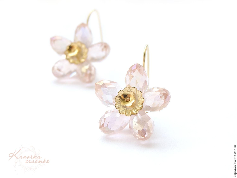 Earrings Gold Plated Pink Flowers Earrings Flower Flowers Gentle