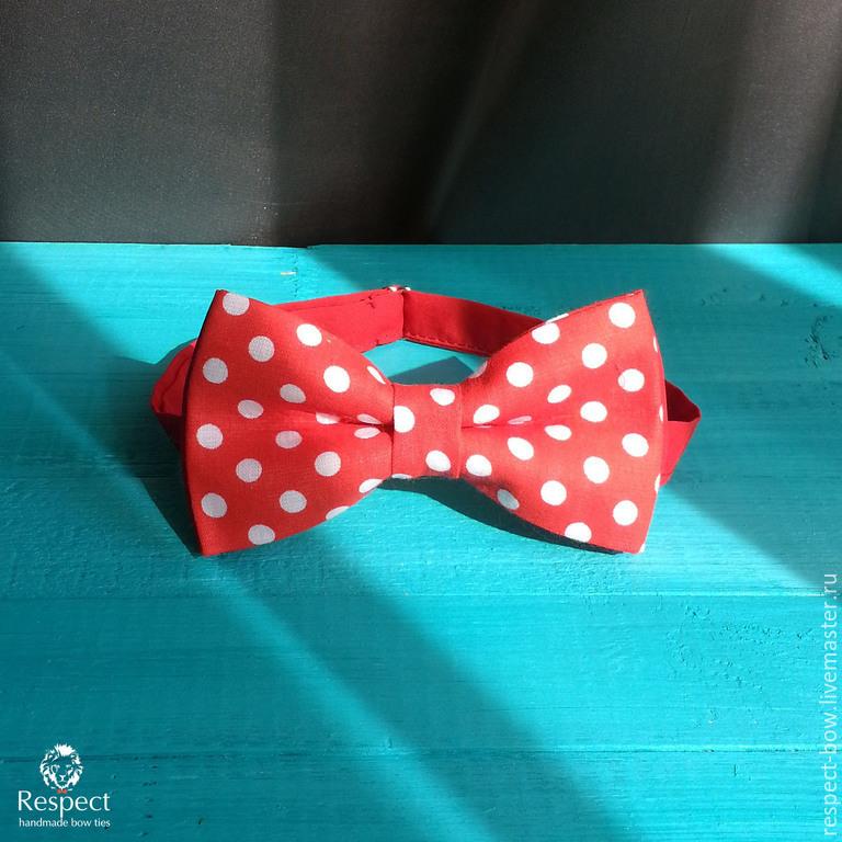 a6ae70873e84 Buy Tie Mickey / bow tie Ties & Bow Ties handmade. Tie Mickey / bow tie red  large white dots.