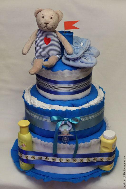 Подарки для новорожденных, ручной работы. Ярмарка Мастеров - ручная работа. Купить Торт из памперсов Мишка-моряк. Handmade. Комбинированный