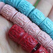 Бусины ручной работы. Ярмарка Мастеров - ручная работа Коралл ( имитация) резные бочонки три цвета. Handmade.