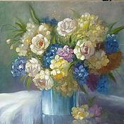 """Картины и панно ручной работы. Ярмарка Мастеров - ручная работа Картина """"Букет цветов в синей вазе"""". Handmade."""