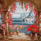 Картины и панно handmade. Livemaster - original item The picture Santa Barbara.. 102 x 70 Embroidery ribbons.. Handmade.