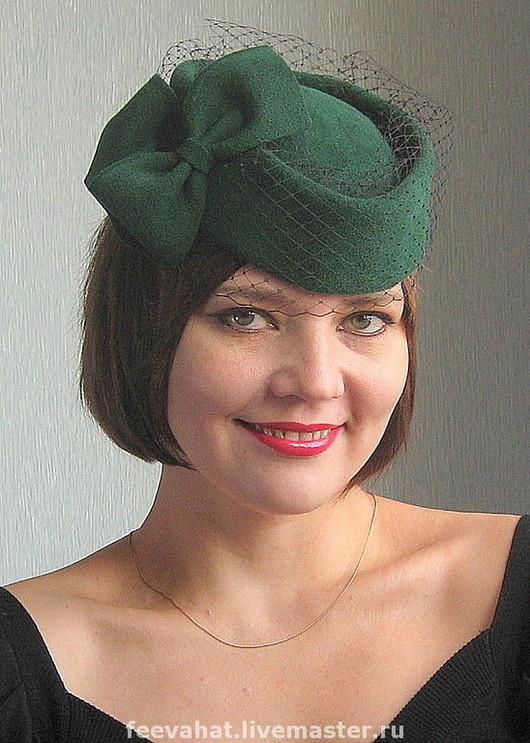 """Шляпы ручной работы. Ярмарка Мастеров - ручная работа. Купить Шляпка """"Темный изумруд"""". Handmade. Изумрудный, шляпка, бант, вуаль"""