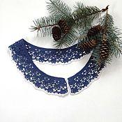 Аксессуары handmade. Livemaster - original item Lace collar crochet No. №50 dark blue. Handmade.