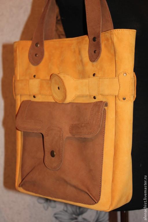 Женские сумки ручной работы. Ярмарка Мастеров - ручная работа. Купить Кожаная сумка Охра-Комби. Handmade. Однотонный