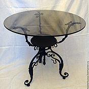 Для дома и интерьера ручной работы. Ярмарка Мастеров - ручная работа Кованый столик (круглый, стекло). Handmade.