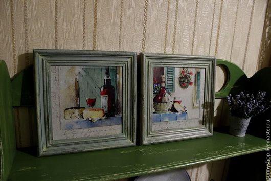 """Натюрморт ручной работы. Ярмарка Мастеров - ручная работа. Купить Картина-панно вешалка или ключница в раме """"Прованс. Вино"""". Handmade."""