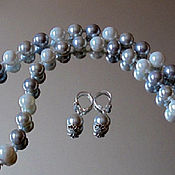 "Украшения handmade. Livemaster - original item Set ""Princess"". Beads and freshwater pearl earrings. Handmade."