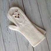 Аксессуары handmade. Livemaster - original item A copy of the work Mittens knitted felted Owls. Handmade.