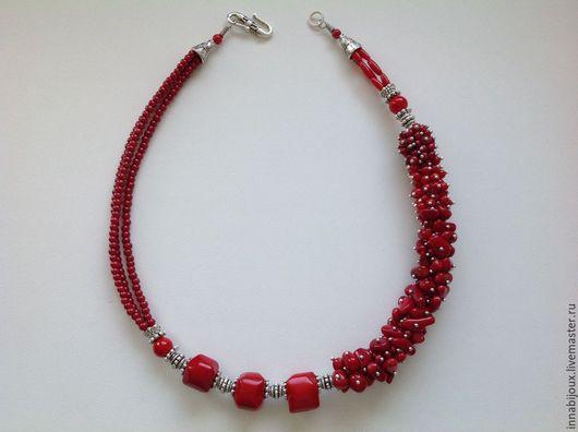 Колье, бусы ручной работы. Ярмарка Мастеров - ручная работа. Купить Scarlet 2. Колье из красного коралла. Handmade.