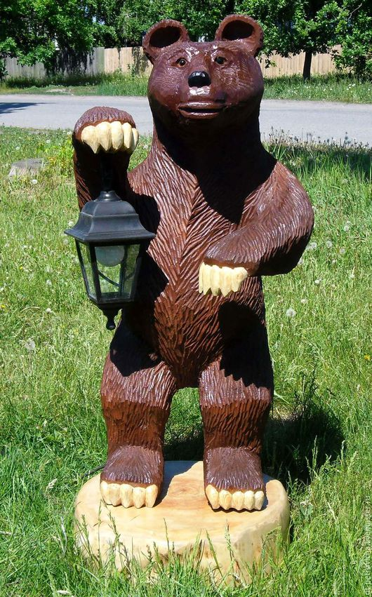 Экстерьер и дача ручной работы. Ярмарка Мастеров - ручная работа. Купить Медведь резной-садовая скульптура № 1. Handmade.