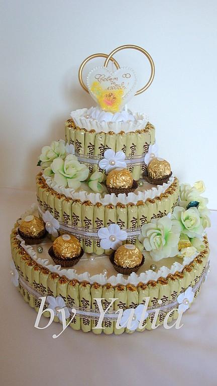 Кулинарные сувениры ручной работы. Ярмарка Мастеров - ручная работа. Купить Свадебный торт из конфет. Handmade. Букет из конфет