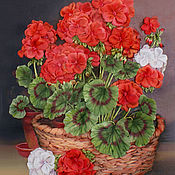 Картины и панно handmade. Livemaster - original item Picture ribbons Magic geranium. Handmade.