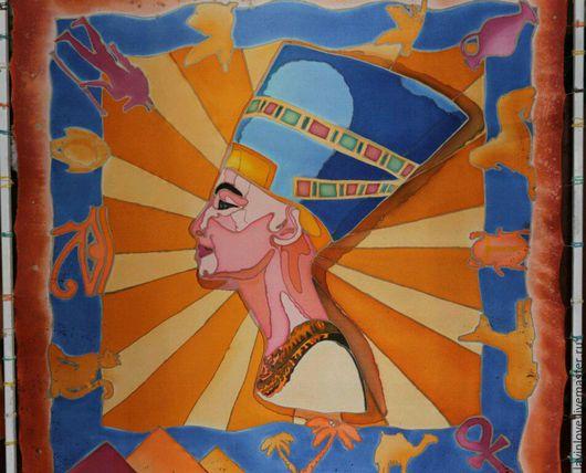 Шали, палантины ручной работы. Ярмарка Мастеров - ручная работа. Купить Платок «Египет», батик,натуральный шёлк. Handmade.