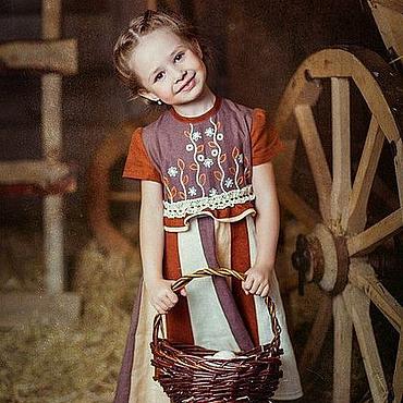 Работы для детей, ручной работы. Ярмарка Мастеров - ручная работа Льняное платье с вышивкой для девочки/русский стиль/ бохо. Handmade.
