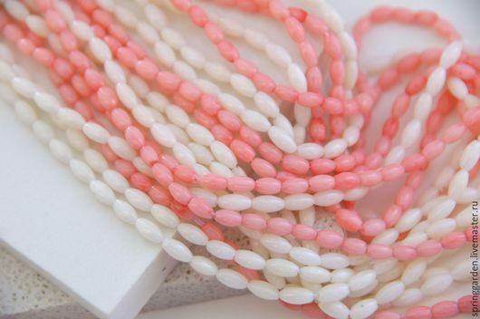 Для украшений ручной работы. Ярмарка Мастеров - ручная работа. Купить Коралл бусины гладкий рис розовый и кремовый. Handmade.
