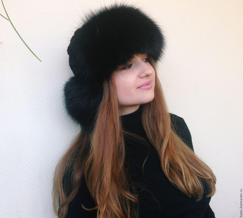 Вязаная женская шапка-ушанка с мехом песца – купить в ...