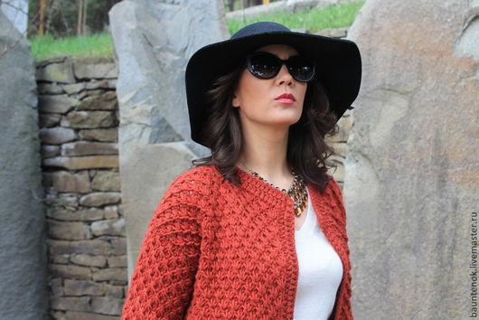 Терракотовый кардиган,вязаный кардиган,кардиган ручной работы,вязание спицами,вязаное пальто,модная одежда,женская вязаная одежда.кардиган вязаный спицами,вязаный жакет