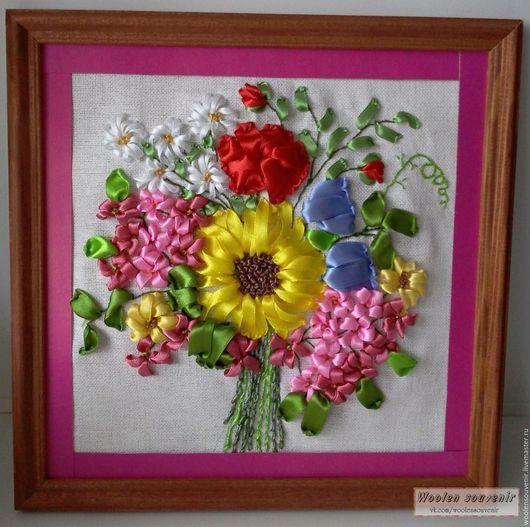 Картины цветов ручной работы. Ярмарка Мастеров - ручная работа. Купить Букет с подсолнухом. Handmade. Комбинированный, вышивка, вышивка ручная
