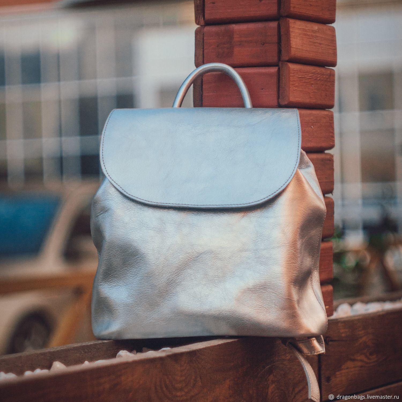 Backpack leather female 'Oliver' (Silver), Backpacks, Yaroslavl,  Фото №1