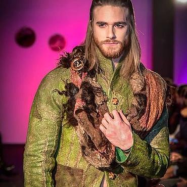 Одежда ручной работы. Ярмарка Мастеров - ручная работа мужской Жакет из шерсти и шелка. Handmade.