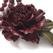 Украшения handmade. Livemaster - original item The colors of the skin.Decoration brooch pin BURGUNDY ROSE. Handmade.