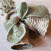 Для дома и интерьера ручной работы. Ярмарка Мастеров - ручная работа Колокольчики с филейным бантом цвета полыни. Handmade.