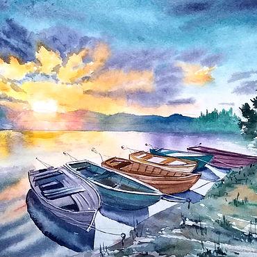 Картины и панно ручной работы. Ярмарка Мастеров - ручная работа Пейзаж акварель лодки в лучайх заката. Handmade.