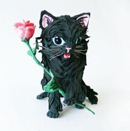 """Игрушки животные, ручной работы. Ярмарка Мастеров - ручная работа. Купить фигурка """"Котик с розой"""". Handmade. Кошка, роза, статуэтка"""