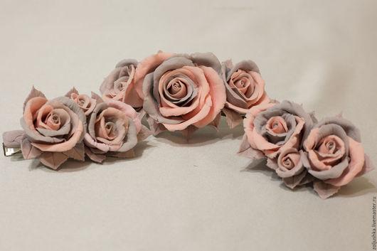 Заколки ручной работы. Ярмарка Мастеров - ручная работа. Купить Розово-серый мотив.... Handmade. Бледно-розовый, заколка-автомат