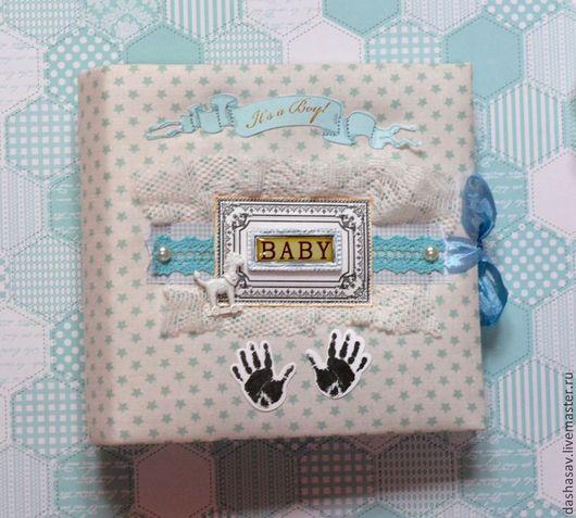Подарки для новорожденных, ручной работы. Ярмарка Мастеров - ручная работа. Купить Мини-альбом It's a boy. Handmade. Голубой