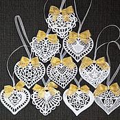 Подарки к праздникам handmade. Livemaster - original item 10pcs hearts. A set of Christmas ornaments. Handmade.