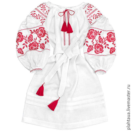 """Платья ручной работы. Ярмарка Мастеров - ручная работа. Купить Платье-вышиванка """"Искрящиеся Розы"""". Handmade. Белый, вышитое платье"""