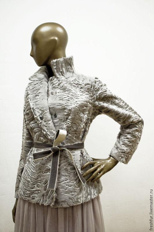 Верхняя одежда ручной работы. Ярмарка Мастеров - ручная работа. Купить жакет из каракульчи Svakara стального цвета. Handmade. Серый
