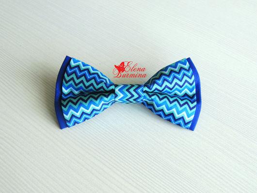 Галстуки, бабочки ручной работы. Ярмарка Мастеров - ручная работа. Купить Бабочка галстук синий зигзаг, хлопок. Handmade. Синий
