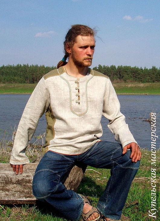 """Для мужчин, ручной работы. Ярмарка Мастеров - ручная работа. Купить Рубаха мужская льняная """"Затейник"""". Handmade. Мужская рубашка"""