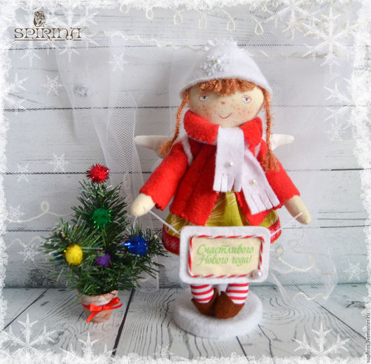 Коллекционные куклы ручной работы. Ярмарка Мастеров - ручная работа. Купить Алька Новогодний Ангел. Handmade. Ярко-красный