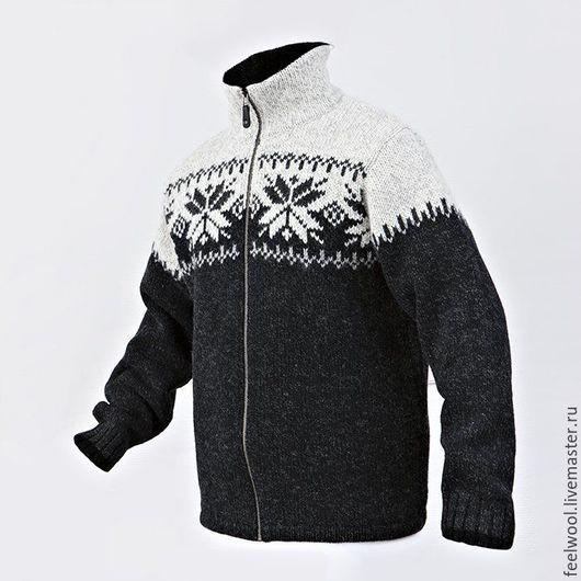 Для мужчин, ручной работы. Ярмарка Мастеров - ручная работа. Купить Свитер из 100% новозеландской шерсти. Handmade. Чёрно-белый