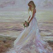 Свадебный салон handmade. Livemaster - original item Oil painting - pearl bride. Handmade.