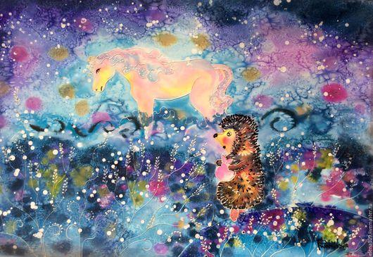 Фантазийные сюжеты ручной работы. Ярмарка Мастеров - ручная работа. Купить Ежичек в тумане4. Handmade. Комбинированный, картина для интерьера