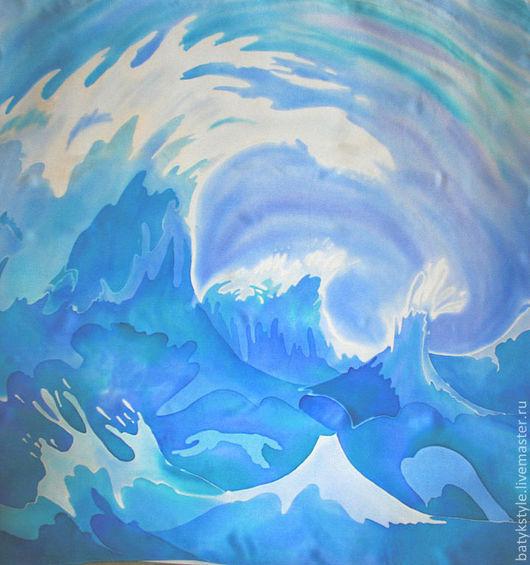 """Шали, палантины ручной работы. Ярмарка Мастеров - ручная работа. Купить Платок батик  """"Море"""", ручная , натуральный шелк. Handmade."""