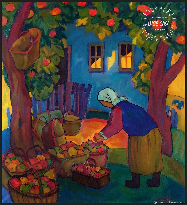 Картина маслом. Триптих Сельская жизнь. Яблочный Спас, Картины, Москва,  Фото №1