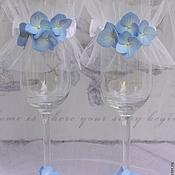 """Свадебный салон ручной работы. Ярмарка Мастеров - ручная работа Свадебные бокалы  """" Blue dreams"""". Handmade."""