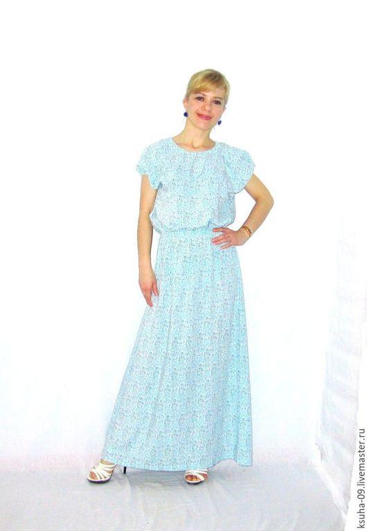 """Платья ручной работы. Ярмарка Мастеров - ручная работа. Купить Платье """"Нежность"""" из Итальянского штапеля. Handmade. Голубой, платье длинное"""