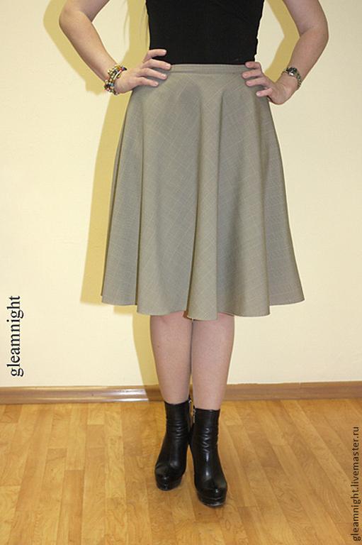 Юбки ручной работы. Ярмарка Мастеров - ручная работа. Купить Шерстяная юбка в клетку. Handmade. Бежевый, бежевая юбка