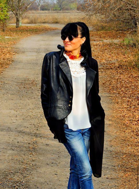 Пиджаки, жакеты ручной работы. Ярмарка Мастеров - ручная работа. Купить Жакет-куртка из кожи, трикотажа и шифона №43. Handmade.