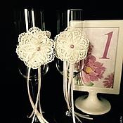 """Свадебный салон ручной работы. Ярмарка Мастеров - ручная работа Свадебные бокалы """"Кружево"""". Handmade."""