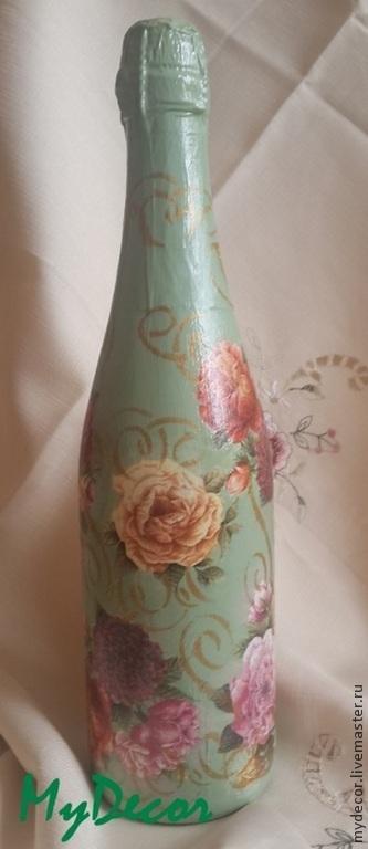 Декор бутылки с романтичным декором