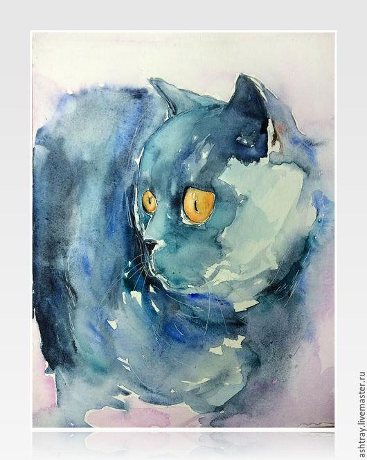 Животные ручной работы. Ярмарка Мастеров - ручная работа. Купить Британский кот. Handmade. Голубой, кот, акварель, акварельная живопись