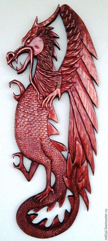 Этно ручной работы. Ярмарка Мастеров - ручная работа. Купить Дракон. Handmade. Коралловый, резьба по дереву, дракон, декоративное панно